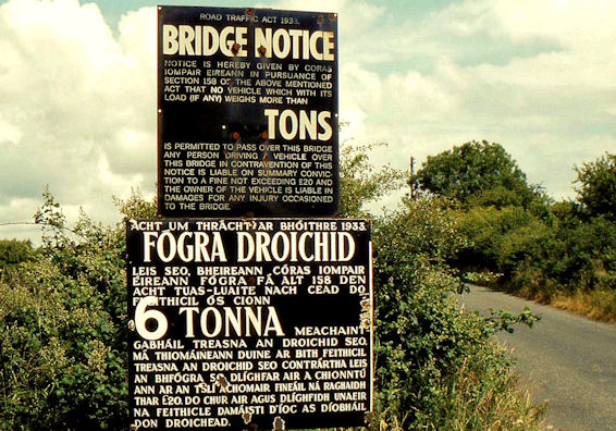 Railway bridge signs near Drogheda