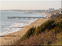 SZ1191 : Boscombe: view over two piers by Chris Downer