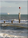 SZ1191 : Boscombe: Isle of Wight view beyond groyne 24 by Chris Downer
