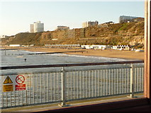 SZ1191 : Boscombe: view west (and, reflected, east) from pier by Chris Downer