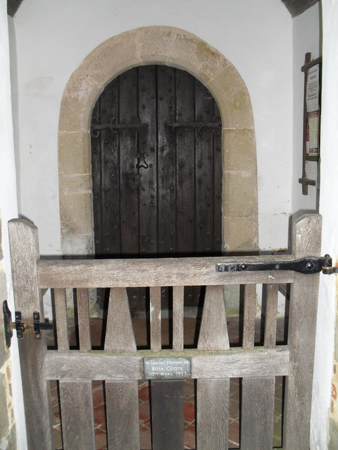 Looking into the church porch at St Mary, Bepton