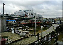 TQ2104 : Military houseboat at Shoreham Beach, West Sussex by Roger  Kidd