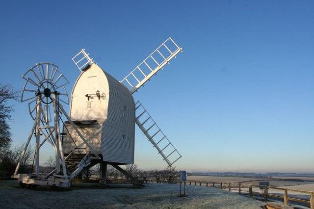 Chishill Windmill in winter fields