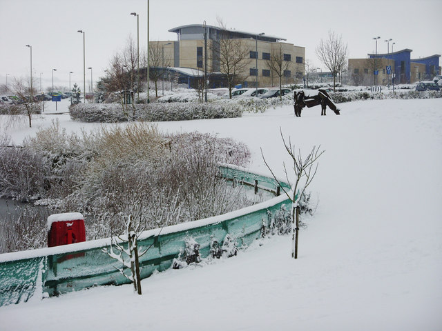 Great Western Hospital in the snow, Swindon