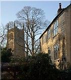 ST7693 : House and church tower, Wotton-Under-Edge by Derek Harper