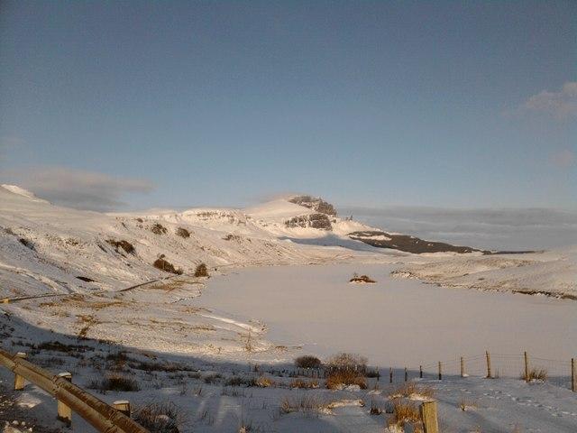 Storr and frozen Loch Fada