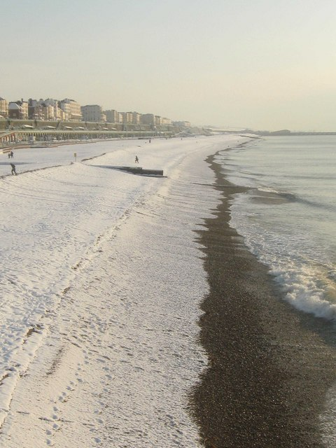 Snow on Brighton Beach