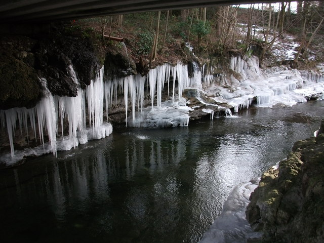 Icicles beside the River Kent