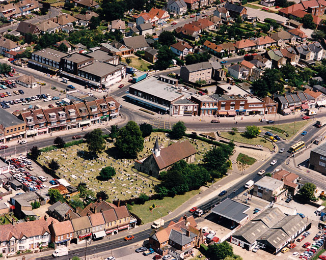 Aerial view of Hadleigh town centre