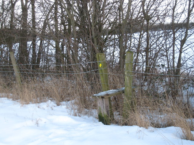 Stile and waymark for footpath