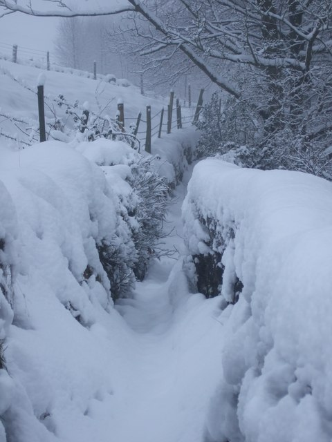 Footpath to Clough House, Slaithwaite on Christmas Eve 2009