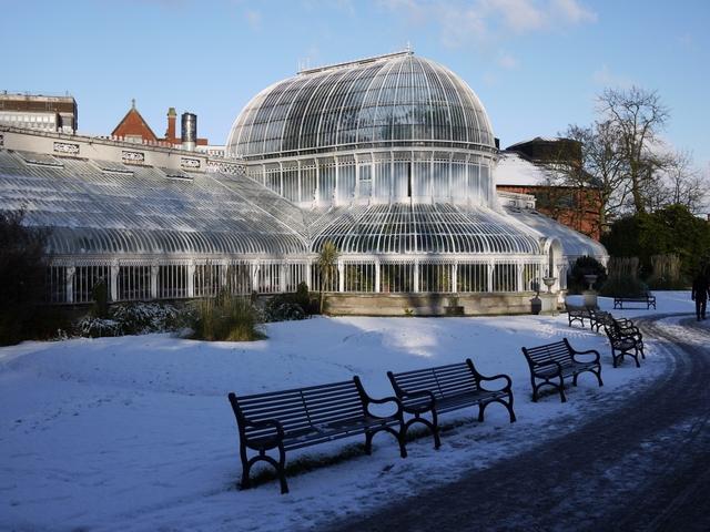 Snow at the Palm House, Botanic Gardens