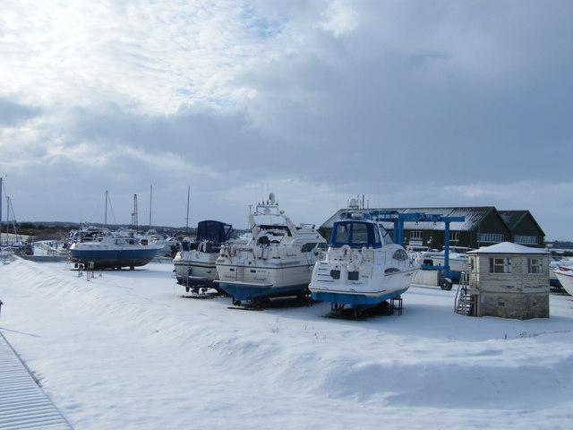 Snow at Johnson's Yacht Station, St Olaves
