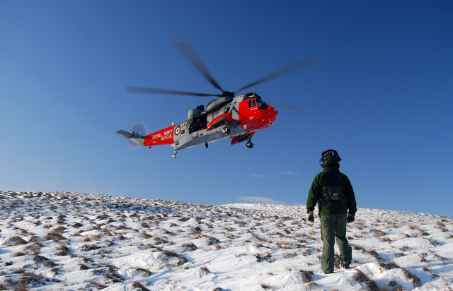 Royal Navy SAR Helicopter on Big Torry Hill, Ochils