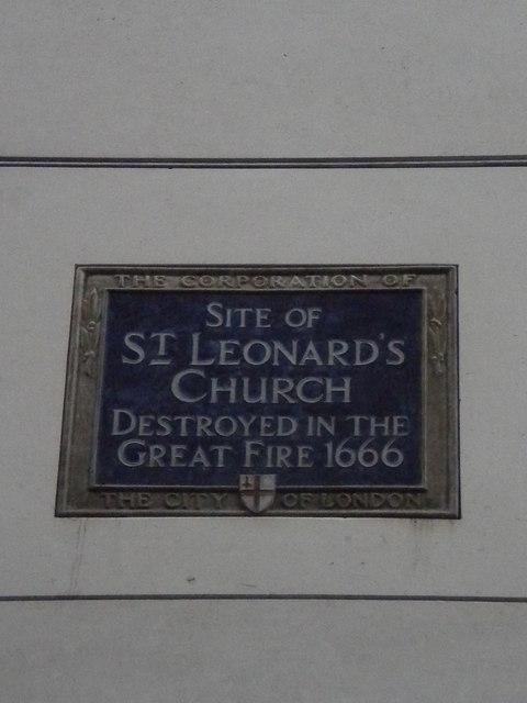 Photo of St. Leonard's Church, London blue plaque