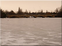 TQ2780 : Hyde Park: frozen Serpentine and the bridge by Chris Downer