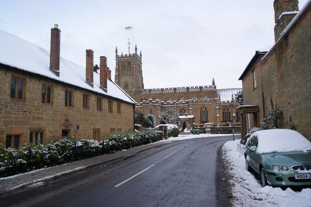 All Saints Church and the former Grammar School Martock.