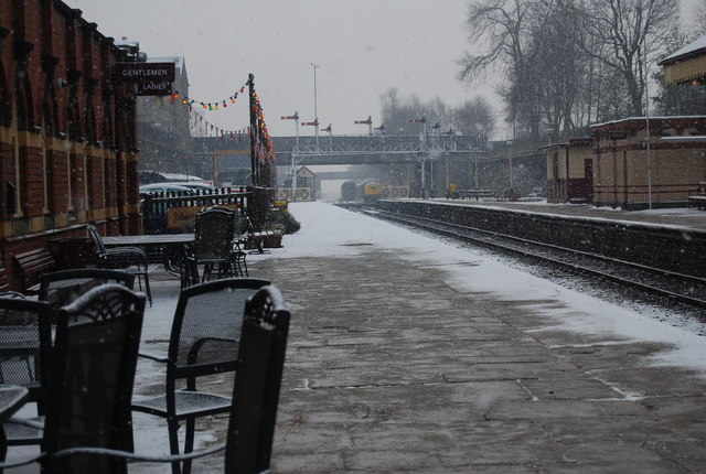Snow on an empty platform, Bury Bolton Street Station
