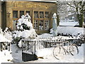 NY8355 : Bicycle as snow sculpture in front of the Gift Shop by Mike Quinn