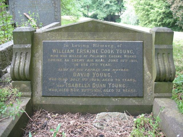 Grave of William Erskine Cook Young in Jarrow Cemetery