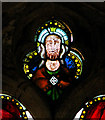 TF7602 : St George's church - medieval glass in south aisle east window by Evelyn Simak