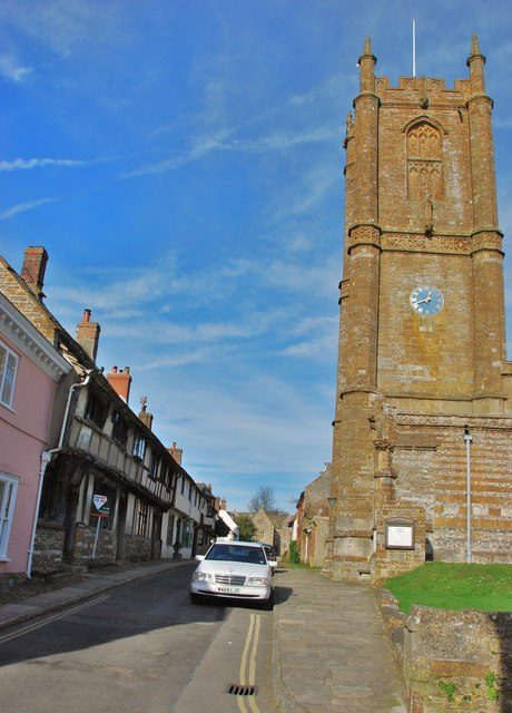 Cerne Abbas:  St. Mary's Church and Tudor houses