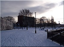TQ7568 : Chatham riverfront in Winter by David Anstiss
