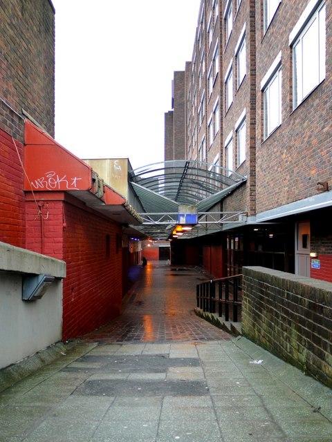 Upper level walkway above Premier Inn, Oxford Street