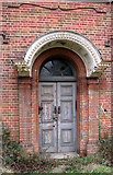 TG2407 : Trowse pumping station - ancillary building (doorway) by Evelyn Simak