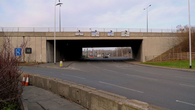 The M60 flies over the Portwood Roundabout, Stockport