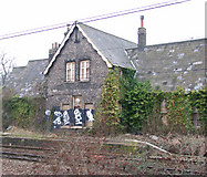 TG2407 : Trowse railway station - disused and overgrown by Evelyn Simak