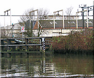 TG2407 : Water-level gauge by Trowse swing bridge by Evelyn Simak
