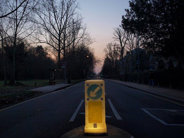 A Bollard illuminates Putney Heath Road