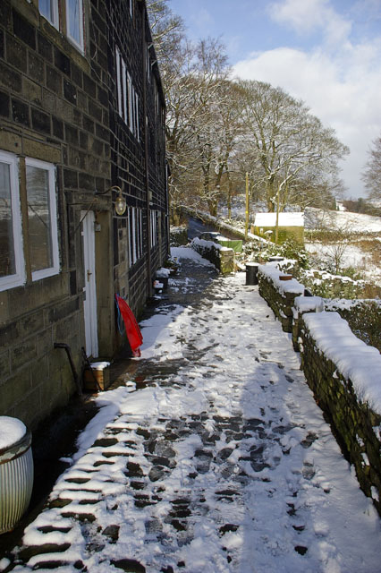 Footpath in front of cottages at Lily Hall