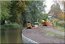 SK0418 : Towpath Maintenance at Rugeley, Staffordshire by Roger  Kidd