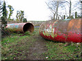 TG4904 : Colourful pipes laid across path by Evelyn Simak
