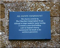 SP3453 : Notice on All Saints Church, Chadshunt by David P Howard