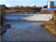 SD7909 : River Irwell, the weir at Warth Mills by David Dixon