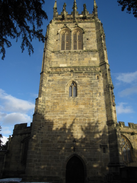 The west face of the tower of All Saints, Gresford