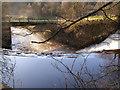 SJ9791 : River Etherow, weir and bridge by David Dixon