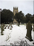 SJ3454 : All Saints' churchyard and tower by John S Turner