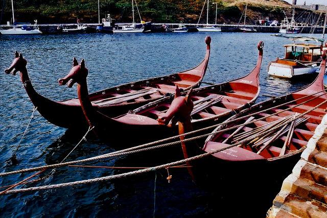 Peel - East Quay - Three Viking-like boats