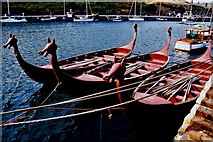 SC2484 : Peel - East Quay - Three Viking-like boats by Joseph Mischyshyn