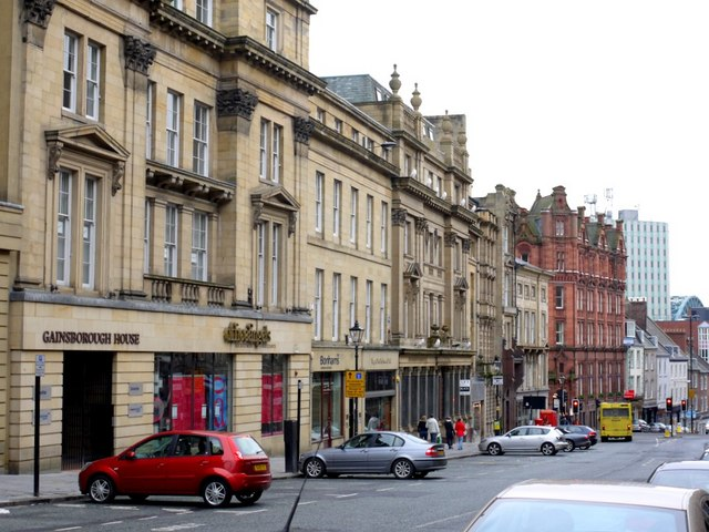 The east side of Grey Street above junction with Mosley Street
