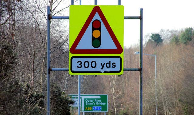 Traffic signals ahead sign, Belfast