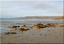 SW3526 : Looking north across Whitesands Bay from Sennen Cove by Andy F