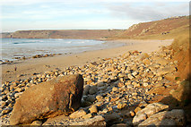 SW3526 : Rocks on the foreshore north of Sennen Cove by Andy F