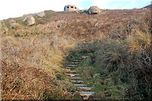 SW3526 : Steps up to a pillbox above Sennen Cove by Andy F
