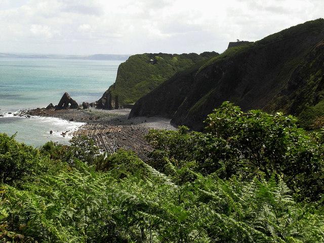 Blackchurch rock looking across Mouthmill beach.