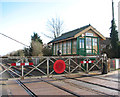 TL9787 : Harling Road station - crossing gates and signal box by Evelyn Simak